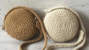 Сумочка кругляшка из хлопкового шнура
